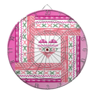 Heart of Trim in Frame of Trim, Pink, Green, Coral Dartboard