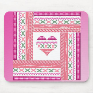 Heart of Trim in Frame of Trim, Pink, Green, Coral Mouse Pad