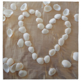 Heart of White Sea Shells, Summer Beach Ocean Love Napkin