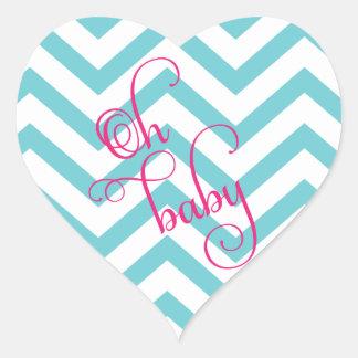 Heart Oh Baby Shower Chevron Sticker