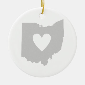 Heart Ohio state silhouette Ceramic Ornament