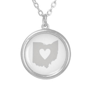 Heart Ohio state silhouette Silver Plated Necklace
