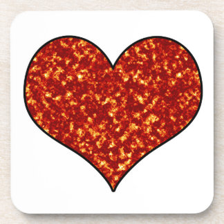 Heart on Fire Beverage Coasters