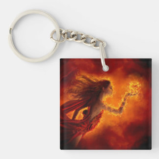 Heart on Fire Double-Sided Square Acrylic Key Ring