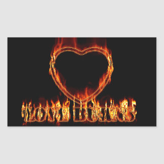 Heart on fire rectangular sticker