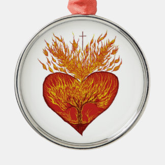 Heart on Fire Silver-Colored Round Decoration