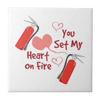 Heart On Fire Small Square Tile