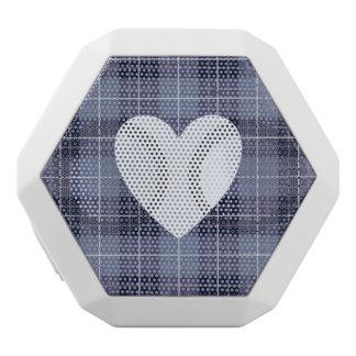 Heart on Plaid Blues & Purples II White Bluetooth Speaker