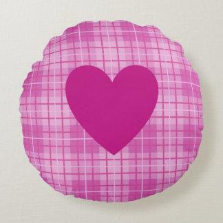 Heart on Plaid Pinks I Round Cushion