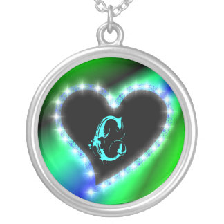 Heart on rainbow with letter C Silver Plated Necklace
