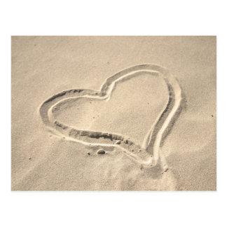 Heart on sand postcard