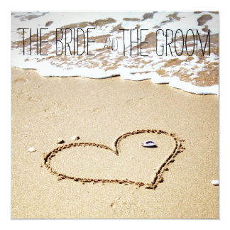 Heart on the beach wedding invitation