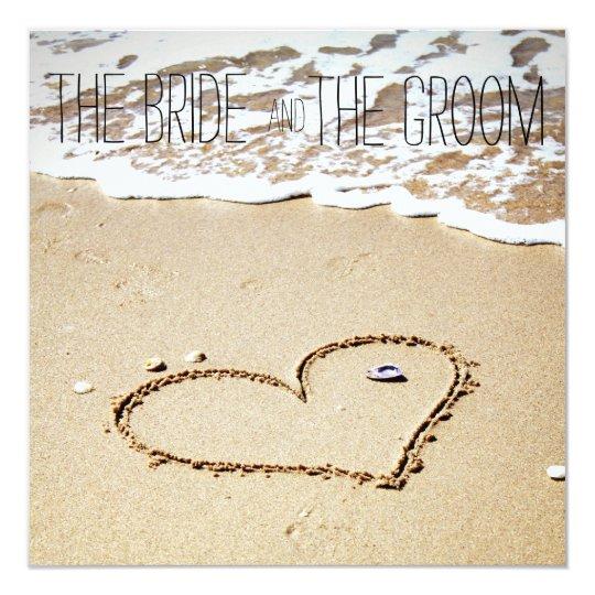 Heart on the beach wedding invitation