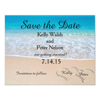 Heart on the Shore Beach Save the Date Card 11 Cm X 14 Cm Invitation Card