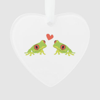 Heart Ornament with Two Tree Frogs In Love