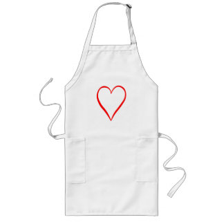 Heart painted on white background long apron