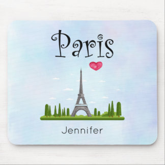 Heart Paris with Eiffel Tower Custom Mouse Pad