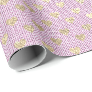 Heart Pastel Foxier Gold Lilac Pink Rose Linen Wrapping Paper