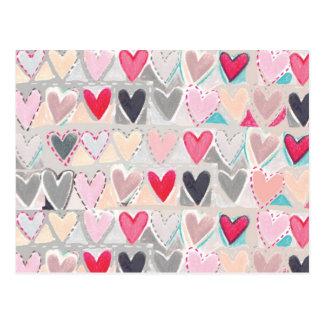 heart patchwork postcard