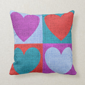 Heart Pattern Blocks of Colour Faux Burlap Cushion