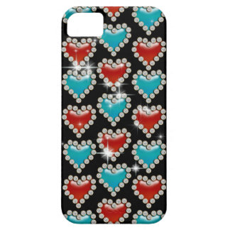 Heart pattern blue red black iPhone 5 cover