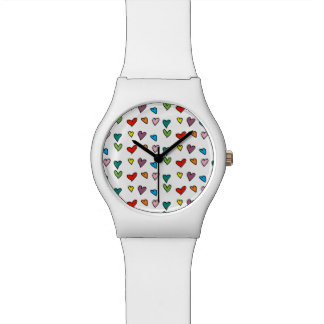Heart Pattern Bright Colors Chic Girly Cute White Watch