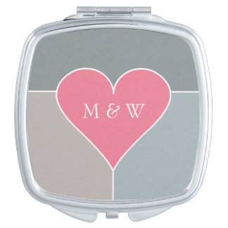Heart Pattern custom monogram pocket mirror Mirrors For Makeup