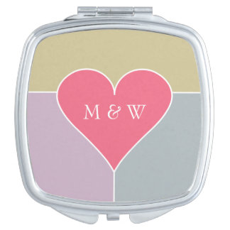 Heart Pattern custom monogram pocket mirror Vanity Mirrors