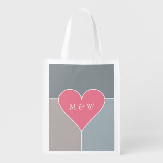 Heart Pattern custom monogram reusable bag