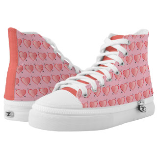 Heart Pattern Cute Cartoon Pink Girly Lovely Chic High Tops