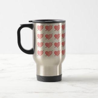 Heart Pattern Cute Cartoon Pink Girly Lovely Chic Travel Mug