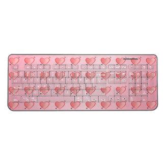 Heart Pattern Cute Cartoon Pink Girly Lovely Chic Wireless Keyboard