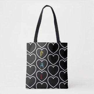 Heart Pattern Monogram Tote Bag