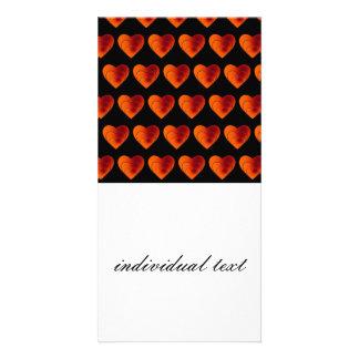 heart pattern orange picture card