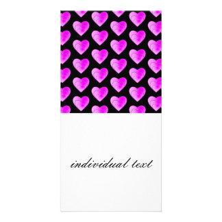 heart pattern pink photo greeting card