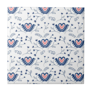 """Heart Pattern"" Small Square Tile"