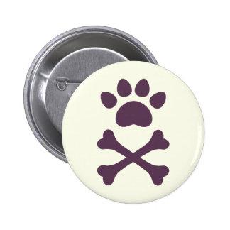 Heart Paw & Crossbones 6 Cm Round Badge