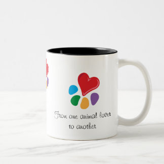 """Heart-Paw_""""From one animal lover"""" Valentine's Coffee Mug"""