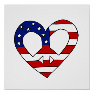 Heart Peace USA Flag Elections Poster