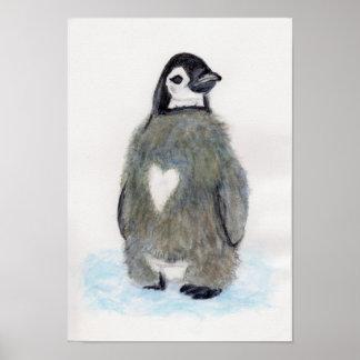 Heart Penguin Watercolour Art Birthday Christmas Poster