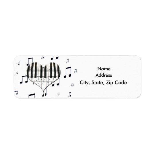 Heart Piano Keyboard and Music Notes Label Return Address Label
