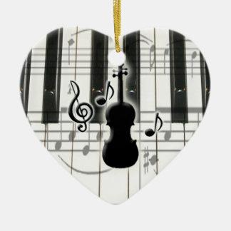 Heart Piano Keyboard Violin Ornament