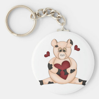 Heart Pig Key Ring