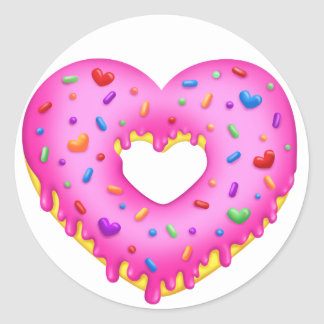 Heart Pink Donut with rainbow sprinkles Classic Round Sticker