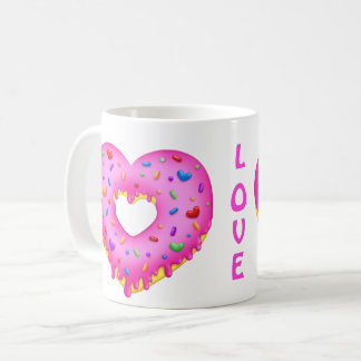Heart Pink Donut with rainbow sprinkles Coffee Mug