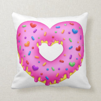 Heart Pink Donut with rainbow sprinkles Cushion
