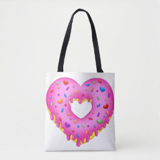 Heart Pink Donut with rainbow sprinkles Tote Bag