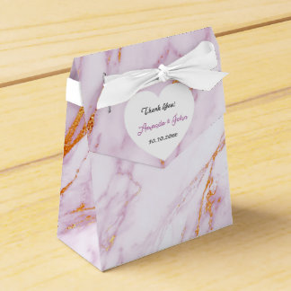 Heart Pink Marble Gold Wedding Favor Thank You Favour Boxes
