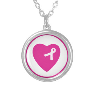 Heart Pink Ribbon Breast Cancer Awareness Necklace