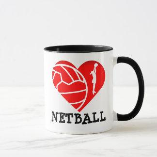 Heart Player Silhouette I Love Netball Mug